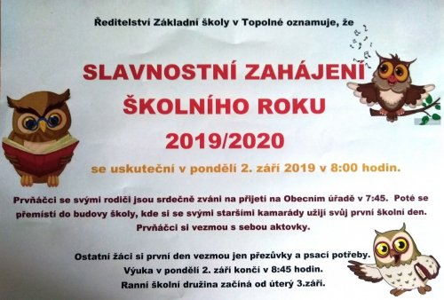 Slavnostní zahájení školního roku 2019/2020